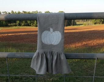 Ruffled Pumpkin Towel Neutral Fall Decor Natural Linen Kitchen Towel Neutral Christmas Decor Pumpkin Linen Towel Handmade Tea Towel