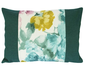 Flowers print, Colorblock pillow, Decorative Throw Pillow Covers, Couch Pillow  12x18 inch, Cushion covers, Lumbar pillow