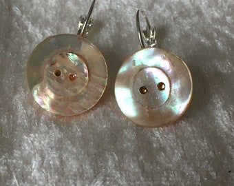 Luminescent, carved round Victorian era Mother of Pearl Button Earrings