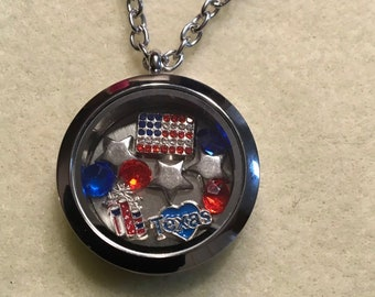 Texas USA Floating Charm Necklace