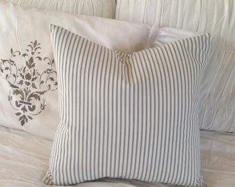 Blue and White Ticking  Canvas Pillow    Coastal / Beach / Nautical / Farmhouse / Lake House / Cottage Chic
