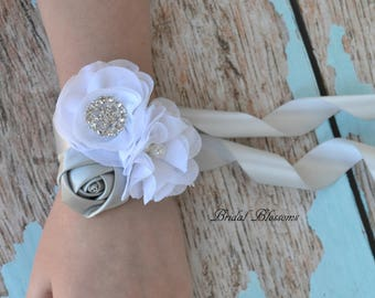 White & Silver Chiffon Satin Flower Wrist Corsage | Vintage Inspired Wedding | Mother of the Bride | Bridal Shower | Prom | Boutonniere