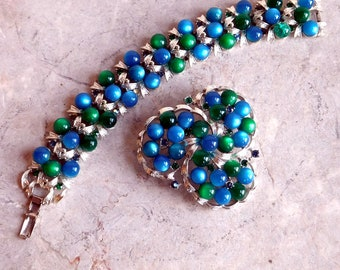 Vintage Coro Blue & Green Moonglow Bracelet w/ Matching Brooch - Tiny Rhinestones - Thermoset Acrylic in Silvertone Metal 1960s Mid-Century