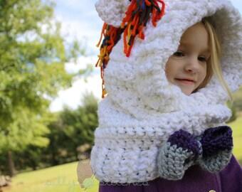 Sparkles the Unicorn Cowl Handmade Crocheted Cowl with Hood
