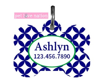 Personalized Pet Tag, Dog Tag, ID Tag, Circle Cutouts Pet Tag With Name And Number