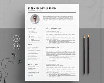 Resume Template/CV Template + Cover Letter for Word | Clean Resume Template with Photo | 1, 2 & 3 Page Resume | Instant Download | KM Resume