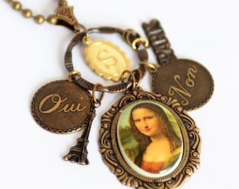 Customized Paris themed Mona Lisa Necklace, French Charm Necklace, Initial Monogram Necklace, Paris Vacation Gift, Louvre Art Jewelry, SRAJD