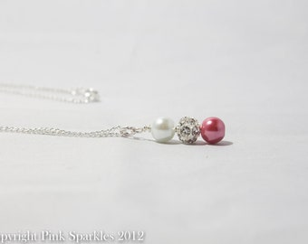 Blush Pink and White Pearl Necklace, Rhinestone Necklace