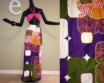 MOD Atomic Space Age Maxi Skirt Vintage 1960s Hawaiian Full Length Skirt Purple Olive Green Hot Pink Geometric Print Button Front Size Small