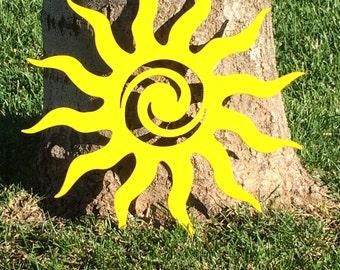 "Summer Sun - Tribal Sun,   Plasma Cut, Metal Sign - 12"" diameter"