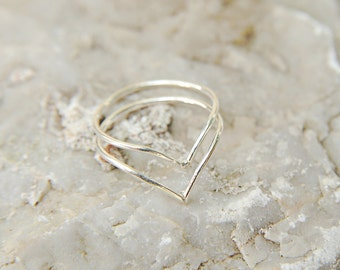 Silver Knuckle Ring Set of 2, Midi, Above Knuckle Stacking Rings, sterling silver 925, upper finger rings, minimal rings