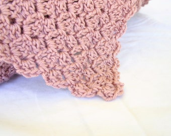 Crochet afghan pink throw blanket dusty rose large bedding elegant lap bed couch coverlet pretty shell stitch home decor washable