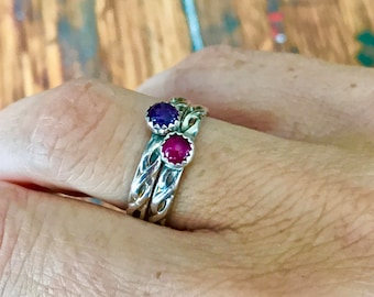 Sterling Silver Celtic Ring with a Gemstone Solitaire