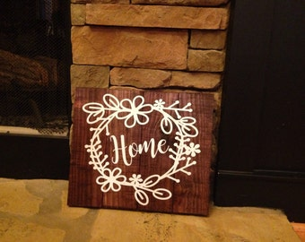 Home sign, wooden home sign, wreath sign, woooden wreath sign