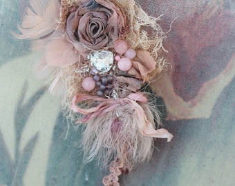 RESERVED--Rose quartz brooch, delicate bold brooch, embroidered and beaded brooch, mixed media