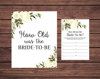 How old was the Bride to Be, White Floral How old was the Bride Shower Game Activity Instant Download 107 Printable