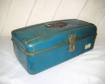 Mid century blue metal tool box, hinged lid, carrying tool box, Union Utility Chest, rustic, distressed, made in USA