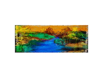 Landscape tree Print Decorative art Custom Home decor Abstract Wall art Contemporary Affordable  horizontal Fall landscape with River