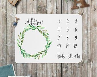 Baby Blanket, Green Wreath, Newborn Baby Milestone Gift, Swaddle Blanket Photo Prop, Gender Neutral, Monthly Marker, Rustic Nursery Boy Girl