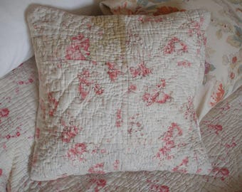 Cushion cover made from antique faded floral quilt (C)