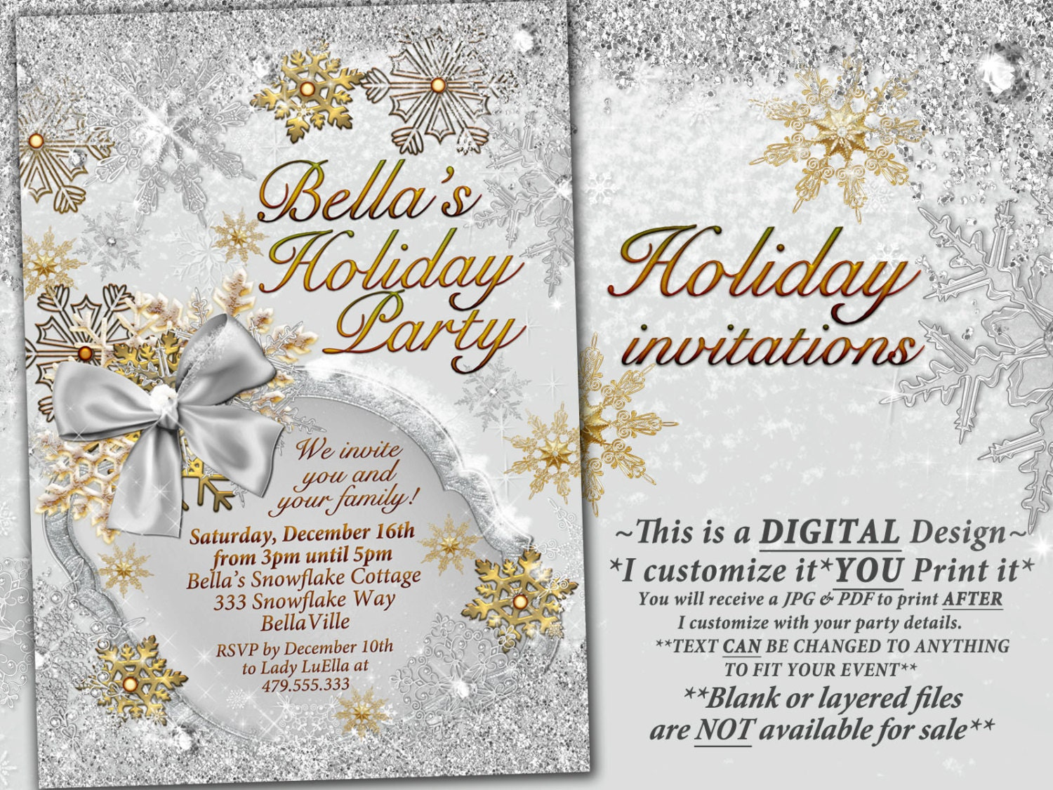 Gold Silver Snowflake Invitation Winter Wonderland Party