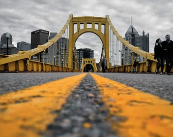 Downtown Pittsburgh Photo, selective color HDR photograph, black, white, and yellow, fine photography prints, Black and Yellow