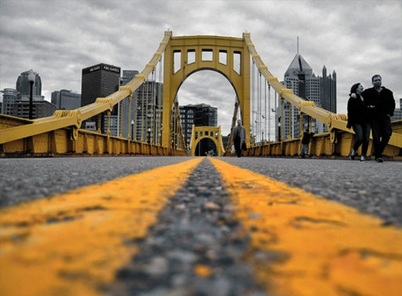 Downtown pittsburgh photo selective color hdr photograph