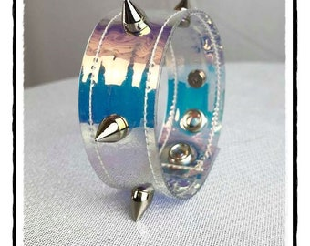 Holographic Wrist Cuff with Small Spikes - Ready to Ship - Pastel Goth Rave Cyber Festival Bracelet