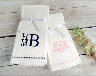Monogrammed Burp Cloth - Set of 3, Personalized Burp Cloth Set