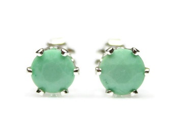 Variscite Earrings Sterling Silver Stud Earrings Lime Green Earrings Green Gemstones 925 Silver Earrings Engagement Gift Variscite Jewelry
