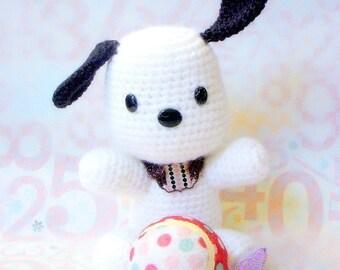 Amigurumi pattern - Black ears doggy - Crochet animal toy tutorial PDF