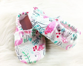 Pink Flamingo Softsole Shoes, Crib Shoes, Slippers, Slip Ons