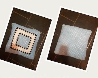 Crocheted Granny Square Cushion