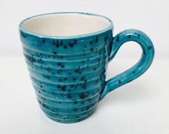 Hand glazed ridge mugs - speckled Turquoise