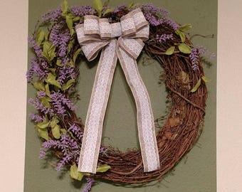 Grapevine and Mini Lavender Garland Wreath, Spring Wreath, Summer Wreath, Front Door Wreath