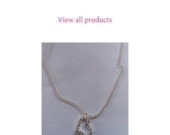 Diamante heart pendant link curb chain necklace