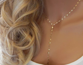Gold Lariat Necklace Choker • Silver Chain Y Necklace • Drop Necklace • Dainty Layering Tassel Necklace • Girlfriend Gift for Her