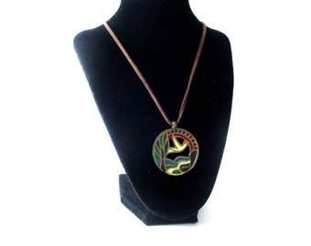 1971 Ecology Designs The Crown of Creation Colorful Enamel Dove, Tree, & River Stained Glass Style Circular Medallion Pendant Necklace