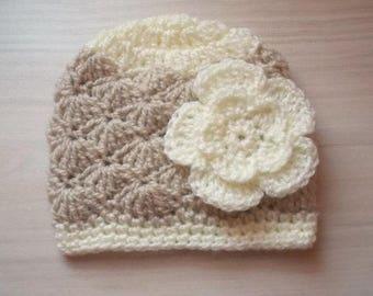 Crochet baby hat, baby girl hat, newborn girl hat, newborn girl beanie, baby girl beanie,newborn hospital hat, beige baby girl hat