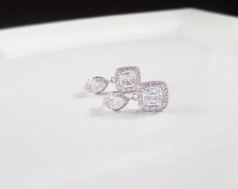 Cubic Zirconia Bridal Earrings Cushion Cut CZ Bridal Earrings Square Cz Bridal Earrings Emerald Cut Bridal Earrings FREE US Shipping!