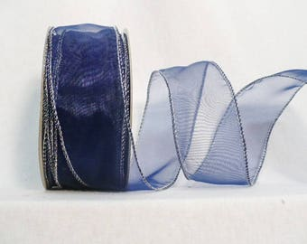 """Sheer navy tone wired edge, sheer navy blue silver wired edge 2"""" x 20 yards"""