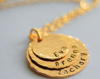 Personalized Hammered Graduating Stacking Necklace in 14K Gold Filled - 3 Discs