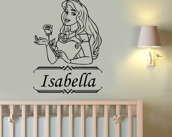 Custom Name Princess Aurora Wall Decal Disney Vinyl Sticker Sleeping Beauty Art Decorations for Home Girl's Room Personalized Decor pra1
