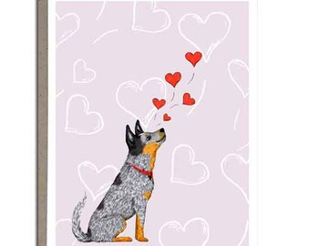 "Australian Cattle Dog, Love Greeting Card, Blue Heeler, Greeting Cards, 4x5, ""Floating Hearts"""