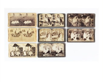Antique (1891 to 1906) Stereographic Cards, Humorous Subjects, Vintage Photography