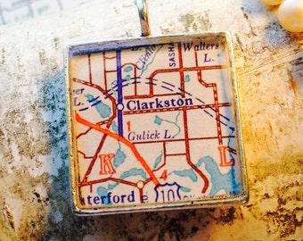 Clarkston Michigan Silver Square Map Pendant 1 inch