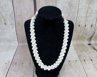 Kumihimo Pearl Necklace -