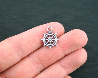 8 Ship Wheel Charms Antique Silver Tone Boat Helm Charms- SC1868