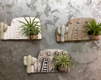 Ceramic Southwest Adobe House Magnet with Air Plant - Planter