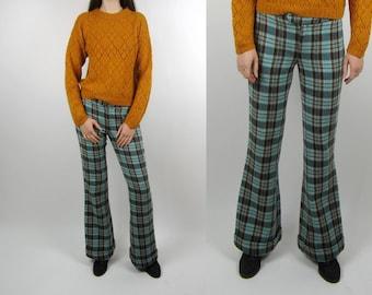 Vintage Bell Bottom Widse Leg wool blend plaid tartan pants trousers S M